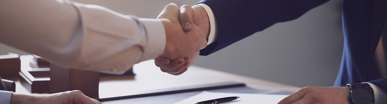 Male lawyer shaking hands with client in office