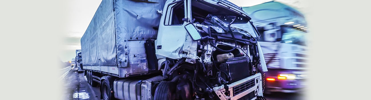 Cabin of a truck injured during an accident